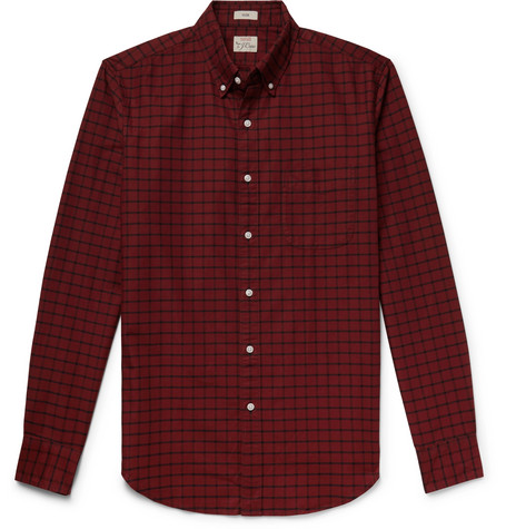 Slim Fit Button Down Collar Checked Pima Cotton Oxford Shirt by J.Crew