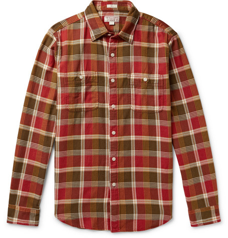 J.CREW Wallace & Barnes Slim-Fit Checked Cotton-Flannel Shirt - Red