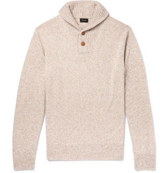 J.Crew Shawl-Collar Mélange Merino Wool-Blend Sweater