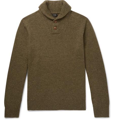 J.CREW Rugged Merino Wool Blend Shawl Collar Pullover Sweater in Green
