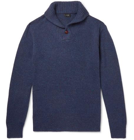J.CREW Rugged Merino Wool Blend Shawl Collar Pullover Sweater in Navy