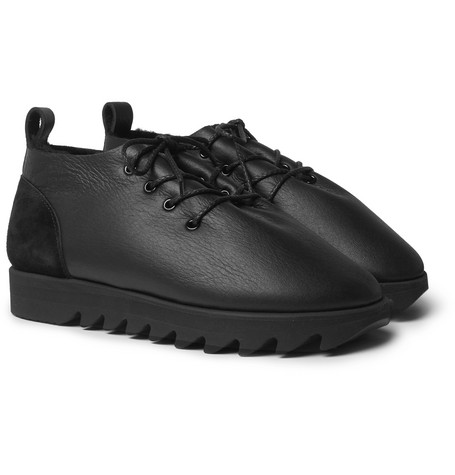 Shearling-lined Leather Shoes - Black