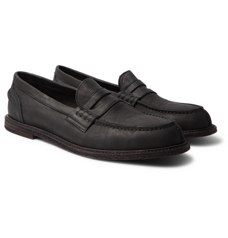 Split-toe Distressed Leather Penny Loafers - Black