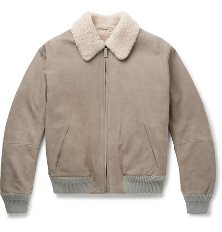 Berluti – Lizard And Shearling-trimmed Leather Bomber Jacket – Light gray