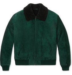 Berluti - Lizard and Shearling-Trimmed Nubuck Bomber Jacket