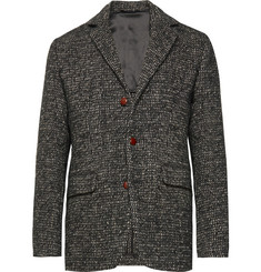 Aspesi Navy Unstructured Tweed Blazer