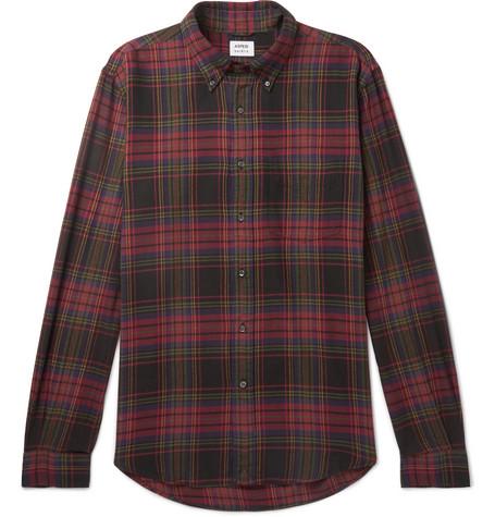 ASPESI Button-Down Collar Checked Cotton-Flannel Shirt in Black