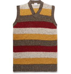 Aspesi - Slim-Fit Striped Donegal Wool Sweater Vest