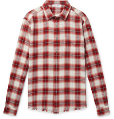 FRAME - Distressed Checked Cotton-Flannel Shirt