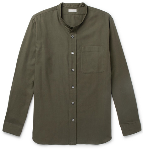 Margaret Howell Grandad-Collar Cotton And Cashmere-Blend Shirt In Green 416795f19