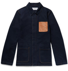 Loewe Leather-Trimmed Denim Chore Jacket