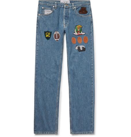 Slim-fit Appliquéd Denim Jeans