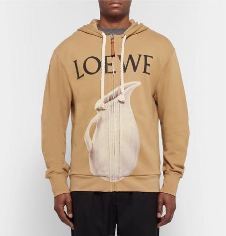 Printed Loopback Cotton Jersey Zip Up Hoodie by Loewe