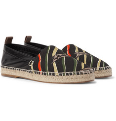 Loewe + Paula`s Ibiza Leather and Printed Canvas Espadrilles
