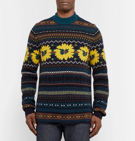 Fair Isle Wool Jacquard Sweater by Sacai