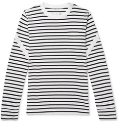Sacai Dixie Webbing-Trimmed Striped Cotton T-Shirt