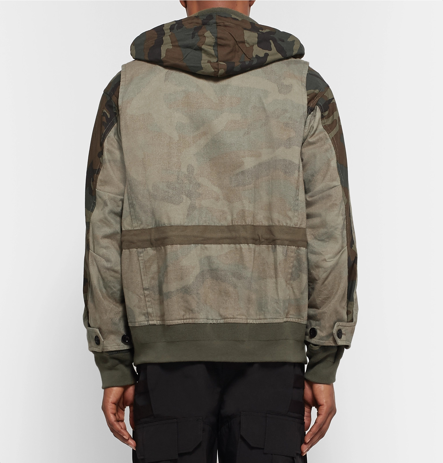 Sacaipanelled Jacket Sacaipanelled Camouflage Camouflage Cotton Print 5x5URwqn