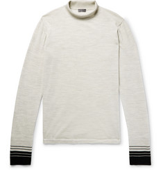 Lanvin Stripe-Trimmed Mélange Wool Rollneck Sweater