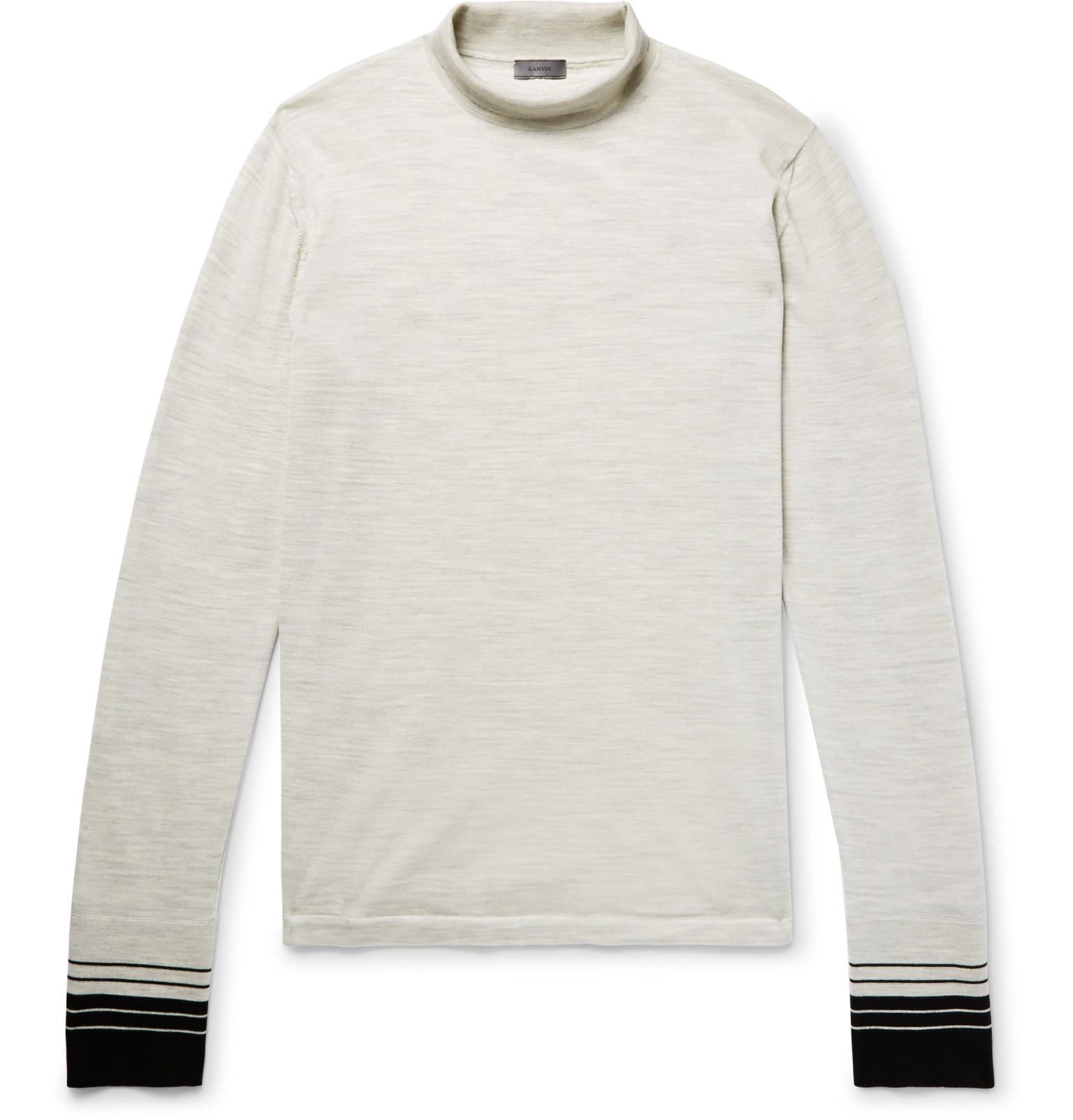 Stripe Rollneck Lanvin Sweater Mélange Wool Trimmed 7qgHdHxY