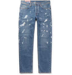 Acne Studios River Tapered Paint-Splattered Stretch-Denim Jeans
