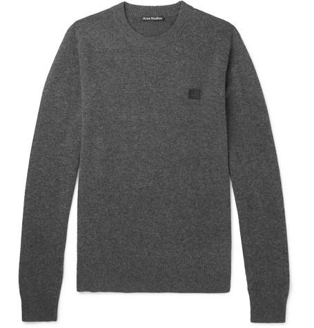 Nalon Face Appliquéd Wool Sweater by Acne Studios