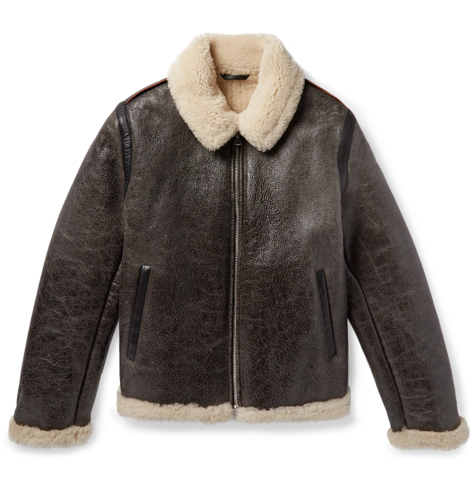 Studios Acne Lined Shearling Leather Jacket Textured TYUUS1qB