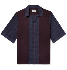 Acne Studios Camp-Collar Panelled Cotton-Flannel Shirt