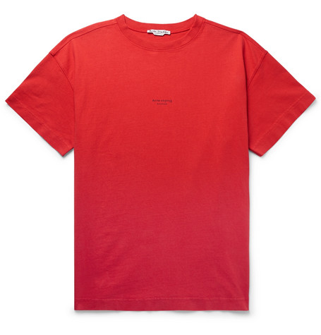Acne Studios Cottons LOGO-PRINT GARMENT-DYED COTTON-JERSEY T-SHIRT - TOMATO RED