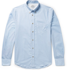 Acne Studios Isherwood Button-Down Collar Striped Cotton-Poplin Shirt