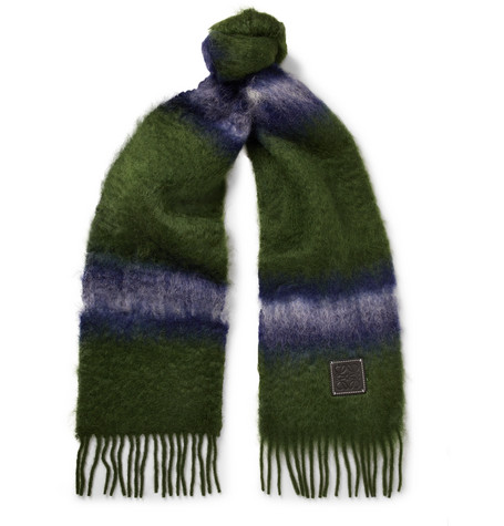 LOEWE FRINGED LEATHER-TRIMMED DÉGRADÉ MOHAIR AND WOOL-BLEND SCARF