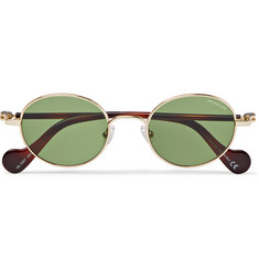 Moncler Round-Frame Gold-Tone and Tortoiseshell Acetate Sunglasses