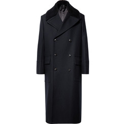 Paul Smith Double-Breasted Shearling-Trimmed Wool Overcoat