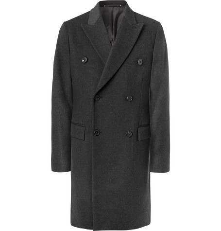 Paul Smith And Wool Charcoal Cashmere breasted blend Coat Double 6AwfH0