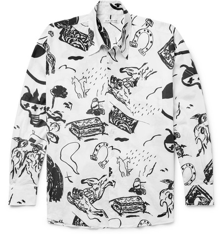 OUR LEGACY BORROWED OVERSIZED PRINTED COTTON-VOILE SHIRT