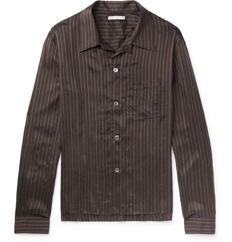 P.X. Camp Collar Striped Satin Shirt by Our Legacy