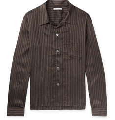Our Legacy - P.X. Camp-Collar Striped Satin Shirt