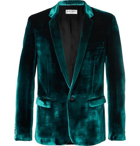 Turquoise Slim Fit Velvet Suit Jacket by Saint Laurent
