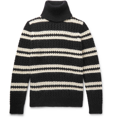 Oversized Striped Wool Blend Rollneck Sweater by Saint Laurent