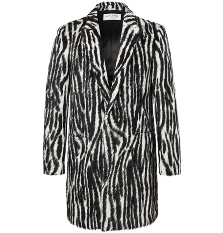 Slim-fit Zebra-print Llama Hair-blend Coat - Black