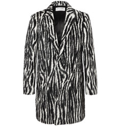 Saint Laurent Slim-Fit Zebra-Print Llama Hair-Blend Coat