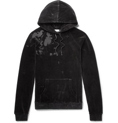 Saint Laurent Distressed Cotton-Blend Velvet Hoodie
