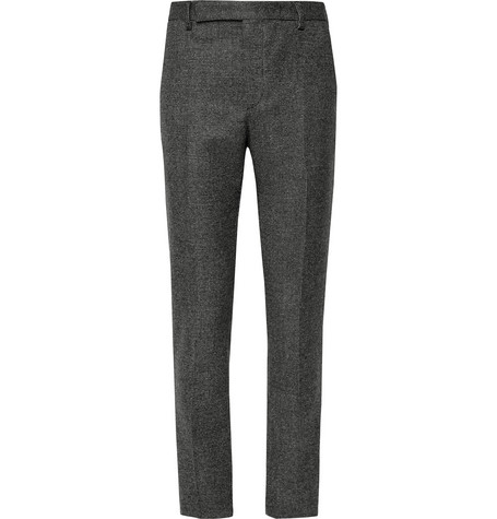 Slim Fit Basketweave Wool Suit Trousers by Saint Laurent