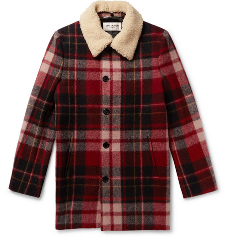 Shearling Trimmed Checked Wool Coat by Saint Laurent