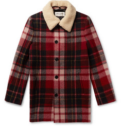 Saint Laurent - Shearling-Trimmed Checked Wool Coat