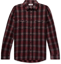 Saint Laurent Checked Textured Wool-Blend Shirt