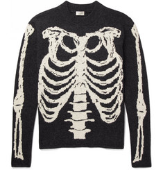 Saint Laurent - Skeleton-Intarsia Wool Sweater