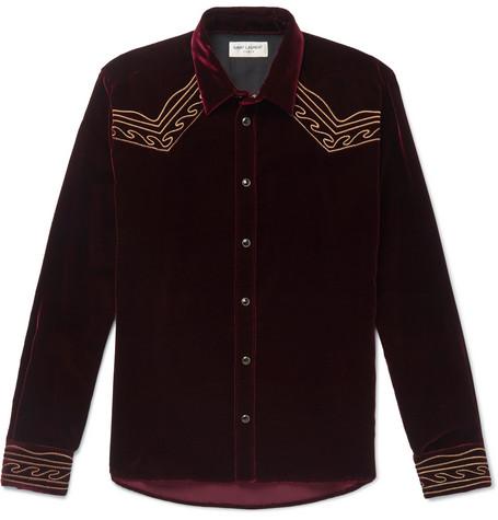 Slim-fit Embroidered Velvet Western Shirt