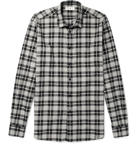 Checked Cotton And Virgin Wool Blend Shirt by Saint Laurent