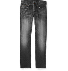 Saint Laurent - Slim-Fit 17cm Distressed Denim Jeans