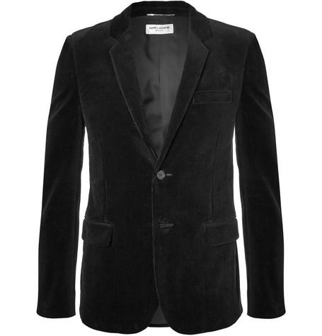 Black Slim Fit Cotton Corduroy Blazer by Saint Laurent
